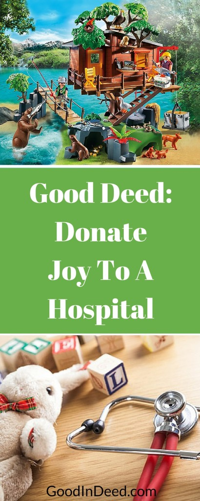 Some children spend a lot f time in a hospital. You can make that hospital time enjoyable for children by drop off a toy or a game at a hospital as a good deed.