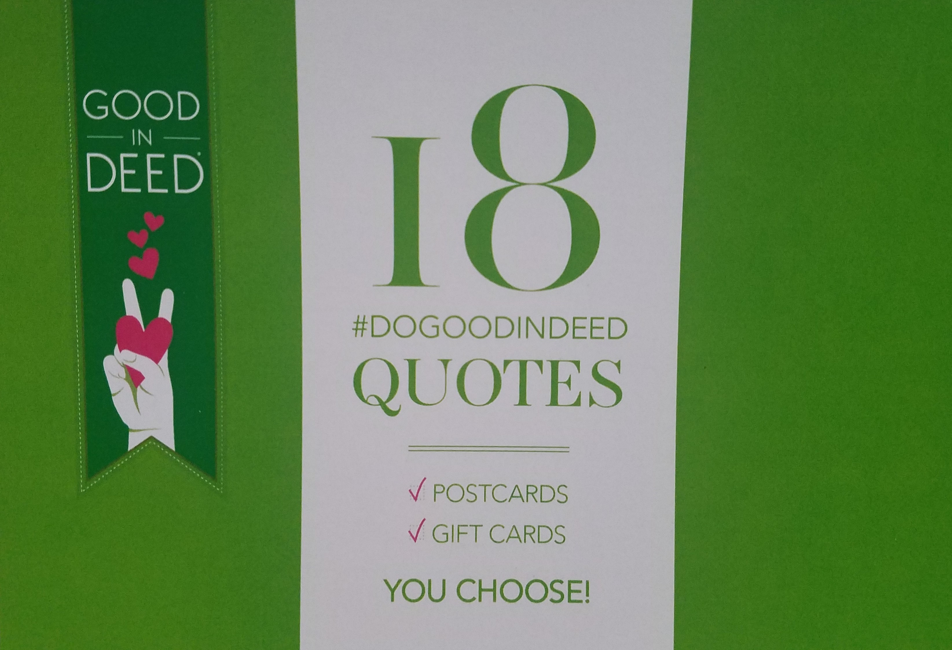 GID | Good In Deed Quotes Note Cards Green (18 Cards)