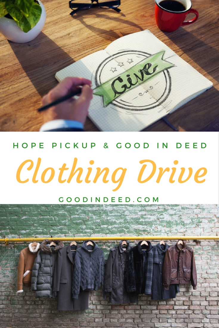Let's all do our part and give to Hope Pickup and know that each piece of clothing delivers a bit of hope to someone in need.
