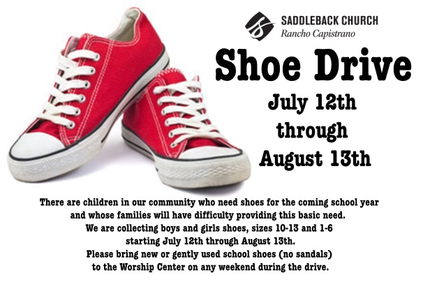 Do some good in your community with a little help from Saddleback Church Rancho Capistrano and their back to school shoe drive.