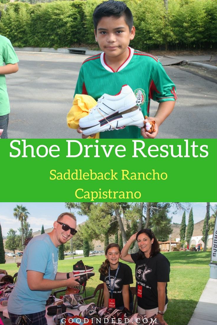 The results of the shoe drive hosted by Saddleback Church Rancho Capistrano and supported by Good In Deed are in and they're amazing.