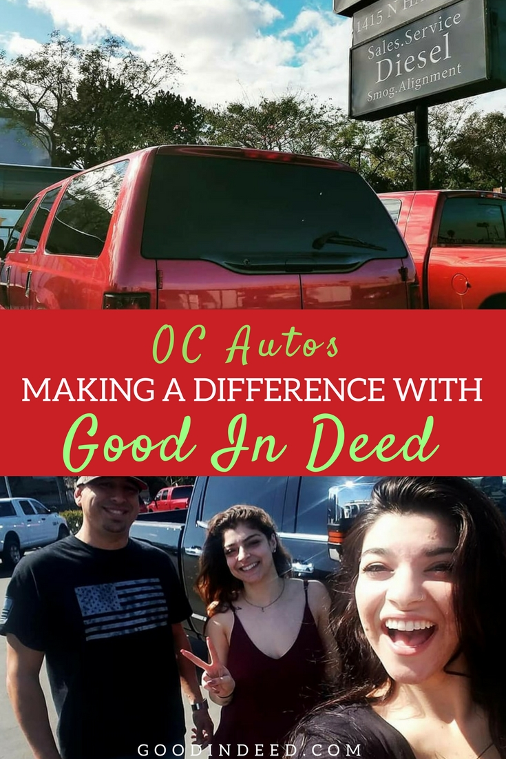 Together, OC Autos and Good In Deed help each other's lights shine in the lives of those around us with the hopes that they will carry that light even further.