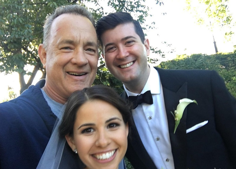 Tom Hanks with a Random Bride and Groom in the Park