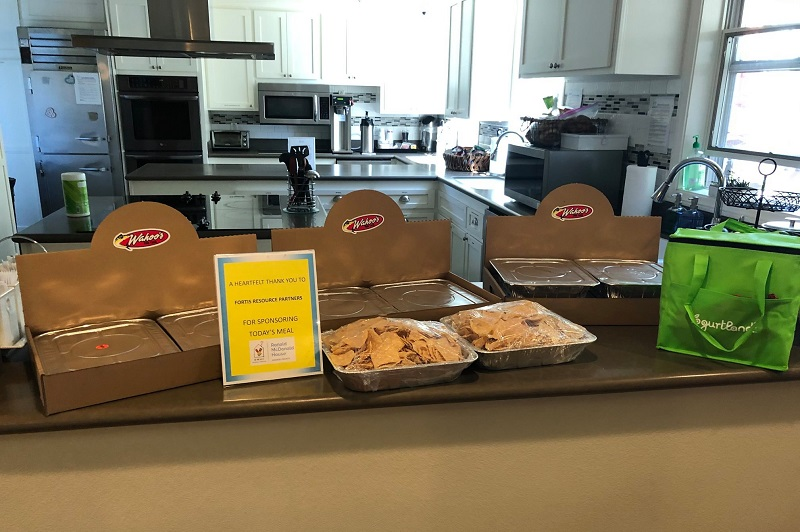 Ronald McDonald House Family Room Volunteer Tips Meal Donation Sitting on a Counter in a Kitchen