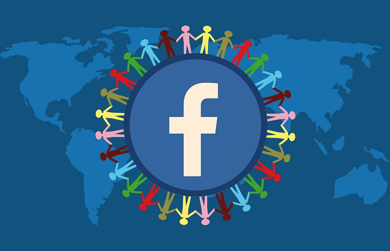 Be Positive on Social Media Facebook Logo with Human Figures Surrounding it and a Global Map in the Background