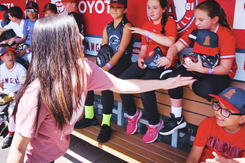 Bloom Foundation Gives Woman and Girls in the Dugout at The Angels Stadium