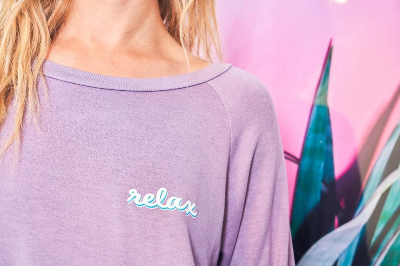 Good Hyouman Sale Close Up of a Woman Wearing a Sweatshirt that Says Relax