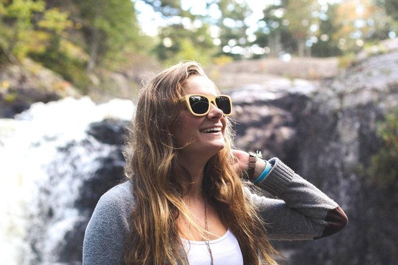 Woman Wearing Wearpanda Sunglasses on a Hike